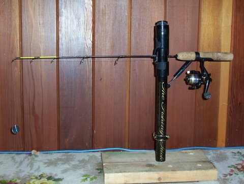 Rod holders cradles stands etc for Ice fishing rod holder